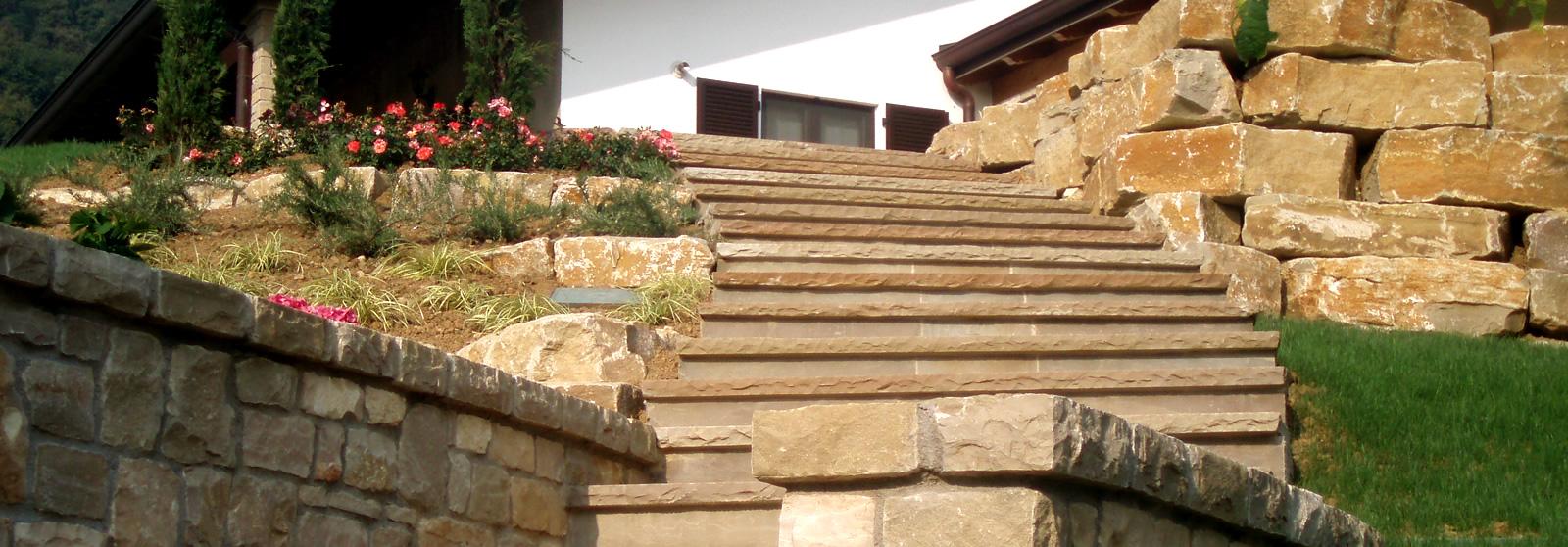 Cava bettoni vera pietra di credaro estrazione lavorazione fornitura e posa - Scale in giardino ...
